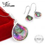 Fashionable Natural Rainbow Mystic Topaz Earring Pendant Necklace <b>Jewelry</b> Set 925 <b>Sterling</b> <b>Silver</b> Bridal Brand Fine <b>Jewelry</b> Set