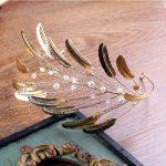 Gold Color Baroque Retro Metal Feather Headband Crown Tiara Brides Hair <b>Jewelry</b> Headwear <b>Handmade</b> Wedding Headpiece Vintage Gift
