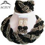 ACZUV Latest Nigerian Wedding African Beads Jewelry Set Crystal Black <b>Silver</b> Twisted Necklace A12R006