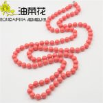 New (Min Order1) Charming 8mm Red Sea Shells Pearl Necklace Elegant Sweater Chain Beads DIY <b>Jewelry</b> <b>Making</b> Design Natural Stone