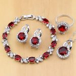Natural 925 <b>Silver</b> Jewelry Red Zircon White CZ Charm Earrings Pendant Necklace Ring <b>Bracelets</b> Jewelry Sets for Women