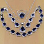 925 Sterling <b>Silver</b> Jewelry White CZ Blue Zircon Jewelry Sets For Women Earrings/Pendant/Necklace/Rings/<b>Bracelet</b>