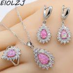 EIOLZJ Pink Fire Australian Opal 925 Silver <b>Jewelry</b> Sets For Women Pendant Rings Dangle Earrings With Stones Free Gift Box