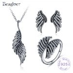Beagloer 100% 925 Sterling <b>Silver</b> Retro Ethnic Feather Jewelry Sets For Women Clear Cubic Zirconia Party Jewelry PSST0003-B