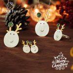 Lotus Fun Real 925 Sterling <b>Silver</b> Creative Handmade Fine Jewelry Christmas Joys Cute Reindeer Jewelry Set