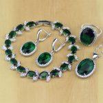 Oval Green Created Emerald White CZ 925 Sterling <b>Silver</b> Jewelry Sets For Women Earrings/Pendant/Necklace/Rings/<b>Bracelet</b> T126