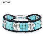Beaded Wrap Bracelet Cube Square Turquoises Leather Cross <b>Native</b> <b>American</b> Men Boho Magnetic Clasp Southwestern <b>Jewelry</b>