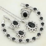925 Sterling <b>Silver</b> Jewelry Black Cubic Zirconia White Rhinestone Jewelry Sets For Women Earring/Pendant/Necklace/<b>Bracelet</b>/Ring