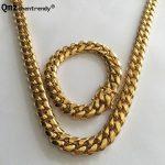 Qmzchentrendy 14mm Stainless Steel Curb Cuban Chain <b>Necklace</b> Bracelet Boys Mens Fashion Chain Dragon Clasp Link <b>jewelry</b> Sets