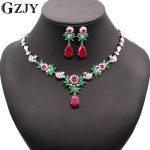 GZJY Luxury Bridal Gold Color Big Water Drop Red&Green AAA Zircon <b>Necklace</b> Earring <b>Jewelry</b> Set For Women Wedding Party <b>Jewelry</b>