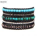 KELITCH <b>Jewelry</b> Black Soft Leather Chain 5 Wrap Adjustable <b>Handmade</b> Silver Nuggets Top Quality Synthetic Beaded Women Bracelet