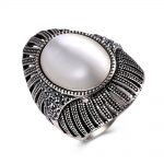 Hemiston <b>Antique</b> Silver Color Mushroom Pattern Female Ring with Oval White Stone, Fashion Rings <b>Jewelry</b> for Women and Men TR985