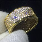 <b>Handmade</b> Women ring Pave Setting 320pcs AAAAA Cz Yellow Gold Filled Engagement wedding band ring for women Bridal Finger <b>Jewelry</b>