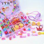 1 Box Beads Girls Diy Toy Puzzle Toys <b>Jewelry</b> Necklace Making Kit <b>Handmade</b> String Beads Set Bow Hairpin Crown Ring Toys For Kids