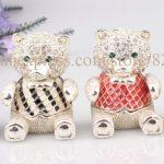 <b>Handmade</b> Jeweled Metal Bear Enamel Trinket Box Cute Bear Hinge Jewerly Box Lovely Small Bear Gift Box Color at Random
