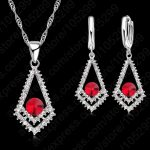 Top Sale CZ Crystal Rhombus Red Stones Pendant 925 Sterling Silver Necklace Earring For Woman Fine <b>Jewelry</b> Wedding Gift Sets