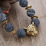 New 8mm 10pcs Antique <b>Silver</b> Buddha Leopard Head <b>Bracelet</b> Men Natural Stone Weathered Agates Bead Charm <b>Bracelets</b> Women