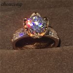 choucong New Flower ring 3ct Diamonique cz Rose Gold 925 Sterling silver Engagement <b>Wedding</b> Band Ring for women fashion <b>jewelry</b>