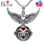 Aromatherapy <b>Jewelry</b> <b>Antique</b> Silver Wing Heart Hollow Locket Cage Pendant Essential Oil Diffuser Necklace With 7 Colors Pompons