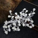 New <b>Handmade</b> Bridal Rhinestone hair clip white leave Crystal Wedding Headband HeadPiece For Bride Hair <b>Jewelry</b> Accessories