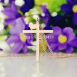 Personalized Initial Cross <b>Necklace</b> Latin Cross Charm <b>Jewelry</b> Heart Cross Pendant Rose Gold Color Name <b>Necklace</b> For Couples