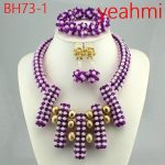 <b>Handmade</b> Luxury African beads <b>jewelry</b> sets indian beaded nigerian wedding bridal beads necklace dubai <b>jewelry</b> sets BH73-2