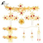 Luxury Gold Color Coronet Headpieces Chinese Style Traditional Tassel Hairwear <b>Jewelry</b> <b>Handmade</b> Wedding Bridal Hair Accessories