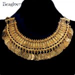 Beagloer Vintage Gold Color Metal Coin Choker Necklace For Women Statement <b>Jewelry</b> <b>Antique</b> Taseel Necklace Pendant Collares