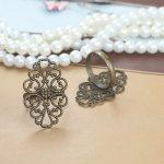 100pcs 20*30mm Flower Pad ring blank Cameo Tray,Bronze/Gold/Silver Ring setting,<b>Handmade</b> DIY Zakka <b>jewelry</b> Finding