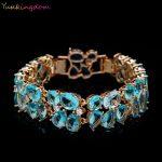 Beautiful Attractive Bracelets & Bangles for Women Gold Color Blue Oval Zircon Bracelets Bangles Water Drop Crystal <b>Jewelry</b>