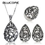 Blucome Vintage Turkish <b>Jewelry</b> Sets Antique Silver Color Water Drop Pendant Necklace Earrings Ring Set Women Party <b>Accessories</b>