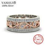 YANHUI Women New Charm flowers Ring 925 Sterling Silver <b>Wedding</b> <b>Jewelry</b> Natural Zircon CZ Gold Color Rings Band <b>Jewelry</b> KYRA0100
