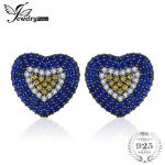 JewelryPalace Love Heart 1.49ct Created Blue Spinel & Sapphire Cluster Stud <b>Earrings</b> 925 Sterling <b>Silver</b> Fashion Fine Jewelry