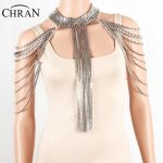 CHRAN <b>Silver</b> Full Metal Body Shoulder Chain <b>Jewelry</b> Necklace Waist Bikini Harness Dress Decor Slave Body Chain Jewellry