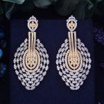 GODK75mm New Arrival Luxury Trendy Noble Tear Drop Full Mirco Cubic Zirconium Naija <b>Wedding</b> Women Earring Fashion <b>Jewelry</b>