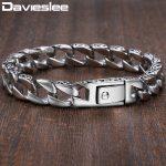 Mens Bracelet Chain 316L Stainless Steel Curb Cuban Chains Bracelets for Men Davieslee <b>Fashion</b> Wholesale <b>Jewelry</b> 11mm DLHB30