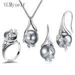 Hot Nice Suspension Pendant earrings ring 3pcs sets Rhodium plate Grey pearl & cubic zircon <b>Fashion</b> leaf statement <b>jewelry</b> set