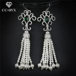 CC earrings for women romantic long tassel design crystal beads <b>handmade</b> wedding accessories bride engagement cz <b>jewelry</b> E0043