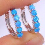 Blue Fire Opal Silver Wholesale & Retail For Women <b>Jewelry</b> Hoop Earrings 20mm OH3462