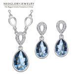 Neoglory Austrian Crystal Waterdrop <b>Wedding</b> <b>Jewelry</b> Sets Bridemaid Gift Rhinestone 2018 New Charm Brand JS9 Pur1