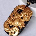Free shipping Natural gold obsidian The dragon <b>necklace</b> pendant with rope wholesale