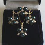 Prett Lovely Women's Wedding Rare 8mm Black South Sea Shell Pearl Earrings Ring & Necklace Pendant Jewel Set