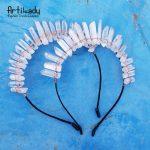 Artilady Raw Crystal Hairbands Handmade Crown Tiara Headbands Angel Crown Hair <b>Jewelry</b> For Women dropshipping