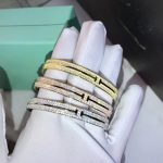 Hot Brand Pure 925 Sterling <b>Silver</b> Jewelry For Women Rose Gold Full Stone T Bangle Jewelry <b>Silver</b> <b>Bracelet</b> Classic Top Quality