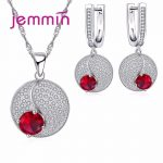 Jemmin Simple Style Round 925 <b>Sterling</b> <b>Silver</b> Necklaces Earrings <b>Jewelry</b> Set With Fine Red Crystal For Women Lady Party
