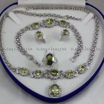 Prett Lovely Women's Wedding shipping> >Charming!Peridot Inlay Link Bracelet earrings Ring Necklace Set silver-<b>jewelry</b>