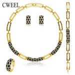 CWEEL New <b>Jewelry</b> Sets Necklace Ring Bracelet Earrings Wedding Gold Color For Women Imitation Crystal Maxi Dress <b>Accessories</b>