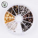 1 box 6 colors <b>antique</b> bronze & red copper & golden & silver & Metal & black column brass tube crimp beads, cadmium free & lead