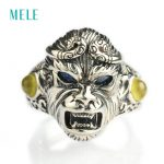 MELE Natural sapphire and prehnite <b>silver</b> 925 rings for man, Au Masculin <b>jewelry</b> with Monkey King shape