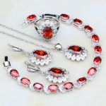 925 <b>Silver</b> Jewelry Red Cubic Zirconia White CZ Bridal Jewelry Sets For Women Anniversary Earrings/Pendant/Necklace/<b>Bracelet</b>/Ring